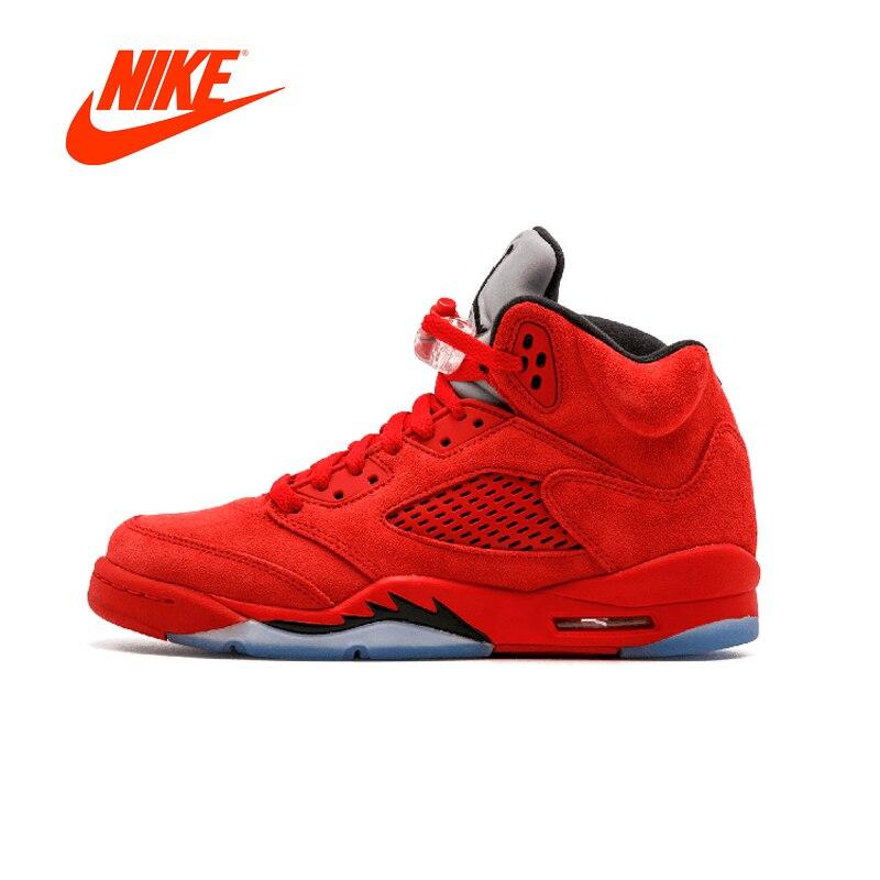 Official Original Nike Air Jordan 5 Men's Basketball Shoes Sneakers 440888-602 nike nike air jordan 1 mid original girl kids basketball shoes children causal skateboarding sneakers