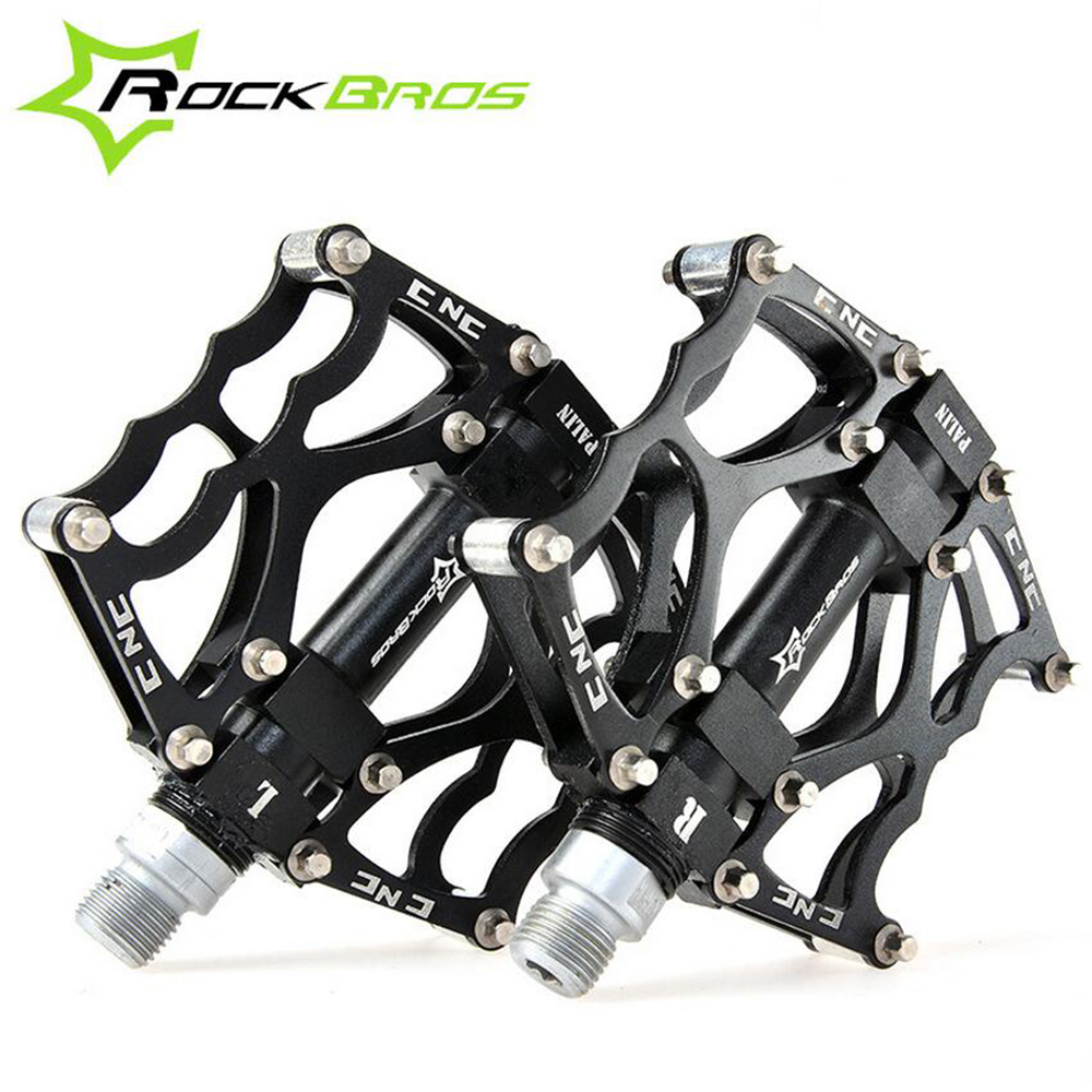 ROCKBROS MTB BMX DH Downhill Aluminum Pedals 9/16 Bearing Flat/Platform Cycling Pedals, 5 Colors New Bike Bicycle Cycle Pedals цена