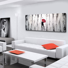 Large Size Modern Canvas Oil Paintings Artwork Abstract Couple In The Rain Wall Panels For Living Room Decoration No Framed