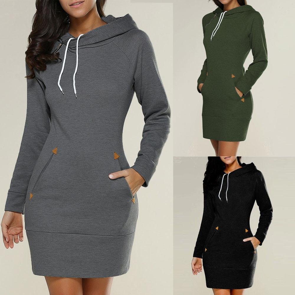Women Ladies Hooded Sweatshirt Long Sleeve Sweater Hoodies Jumper Mini Dress Vestido Casual