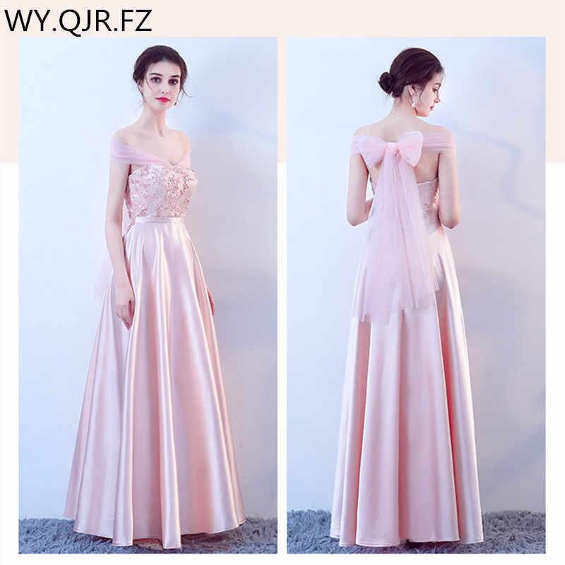 c35eddfd7a9b655 KBS019C # розовый персик на шнуровке Лодка шеи Длинные платья невесты  Свадебная вечеринка платье 2018 Платье