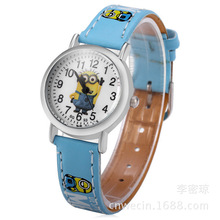 Hot Sell 3D Eye Minion Leather Quartz Wristwatches