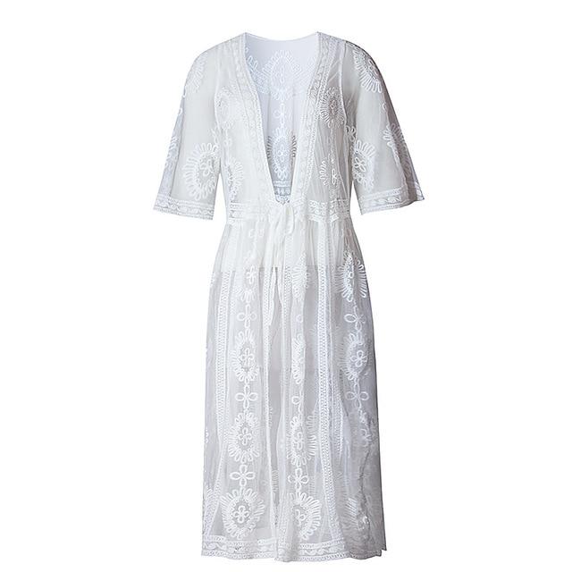 d226f72a644e7 White Lace Bikini Cover Up Loose Floor Length Beach Dress Chiffon Swimsuit  Cover-up Dress Cover-ups Beach Tunic Wear