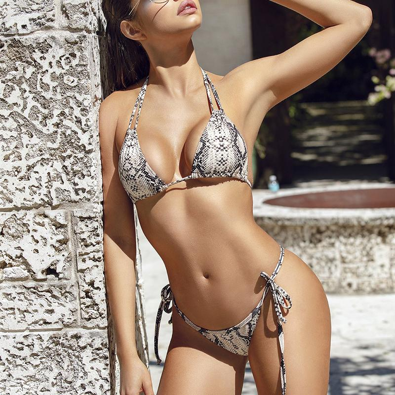 Mossha Snakeskin <font><b>bikinis</b></font> <font><b>2019</b></font> mujer bathers <font><b>Sexy</b></font> thong swimwear women Hater string swimsuit female Bathing suit <font><b>Summer</b></font> biquini image