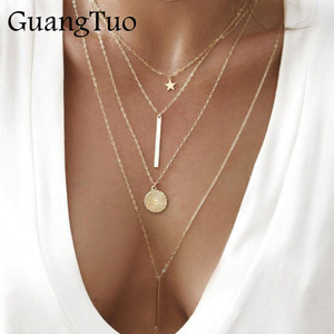 NK152 New Vintage Boho Multilayer Pendant Necklace for Women Gold Star Coin Metal Necklace Tribal Necklace Collar