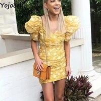 Yojoceli Puff sleeve short bodycon dress women Summer elegant party floral print dress female Beach cool chic dress vestidos