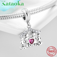 925 Sterling Silver Guardian home Family love Pink CZ beads Fit Original Pandora Charm Bracelets jewelry making