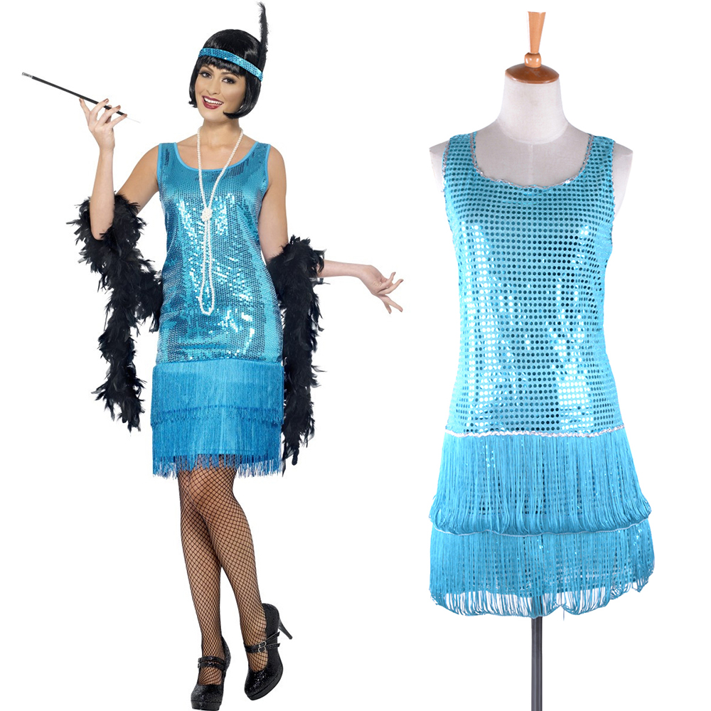 Teal Blue Flirty Flapper Fancy Dress Ladies 1920s Charleston Women Costume Dazzling Turquoise Flapper Women Costume Dancer Wear
