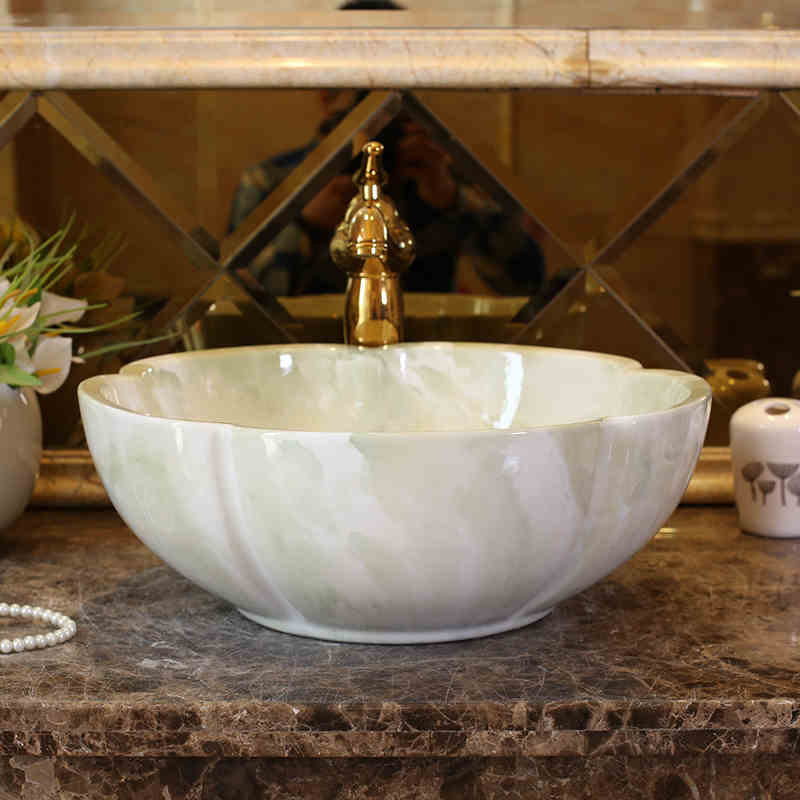 China Artistic Europe Style Counter Top porcelain wash basin bathroom sinks ceramic art lavabo bowl (3)