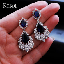 RAKOL Korea Elegant Chandelier AAA+ Cubic Zirconia Long Big Crystal Bridal Dangle Drop Earring For Wedding Jewelry RE03635K цена