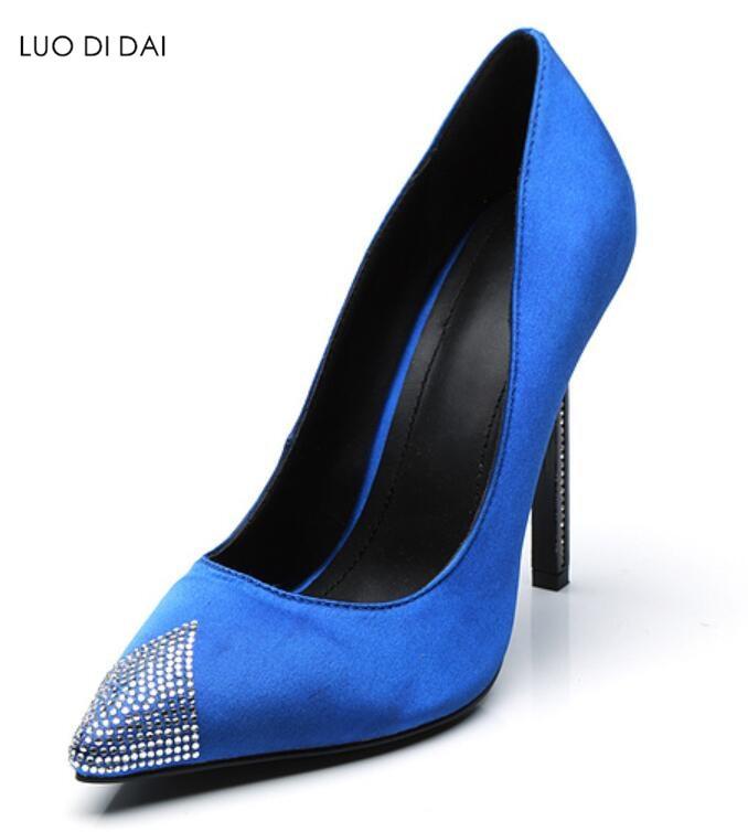 Rhinestone 2018 As Manera La Diamante Satén Talón Vestido Bombas Mujeres Boda De Pic Zapatos Pic as Point Señoras Partido Fino Toe qw0wtT