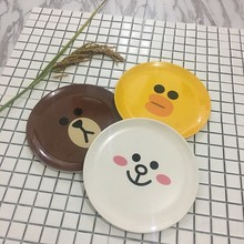 Baby Cartoon Melamine Baby Infant Feeding Plate Kid Fruit Dishes Children Yellow White Brown Tableware
