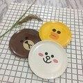 Placa de Melamina Infantil de Alimentação Do Bebê Dos Desenhos Animados do bebê Kid Fruit Talheres Pratos Crianças Amarelo Branco Marrom