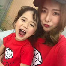 Family Matching 2017 Diamond Print Mother Father Daughter Son T-shirts Family Outfits Clothing Cool Girls Summer Tees Tops