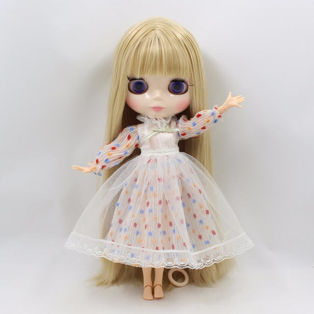 TBL Neo Blythe Doll Straight Blonde Hair Jointed Body