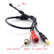 Sound Monitor Audio Pickup DC 12V  Mini Pickup Audio Microphone RCA Power Cable for Cctv Security Camera DVR Video Surveillance