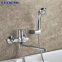 LEDEME Bathroom Shower Faucet 1 Set Chrome Plated Outlet Pipe Bath Shower Faucets Surface Brass Faucets