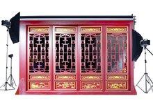 Fotografie Hintergrund Holz Shabby Goldene Muster Rot Farbe Malen Verwitterten Holz Tür Kulissen