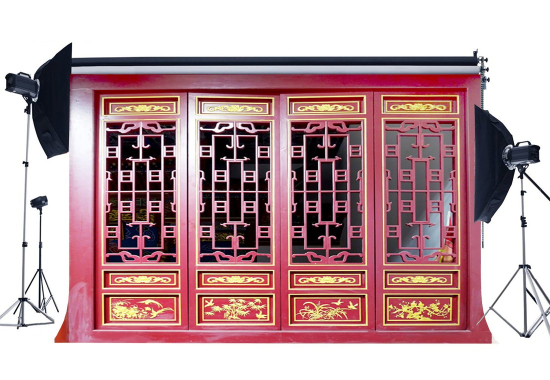 Photography Backdrop Wooden Shabby Golden Pattern Red Color Paint Weathered Wood Door Backdrops-in Photo Studio Accessories from Consumer Electronics