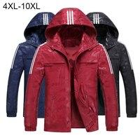 2018 Plus Size 10XL Mens Loose Hooded Jackets Windbreaker Waterproof Jackets Men coat Spring Casual Coat for Male