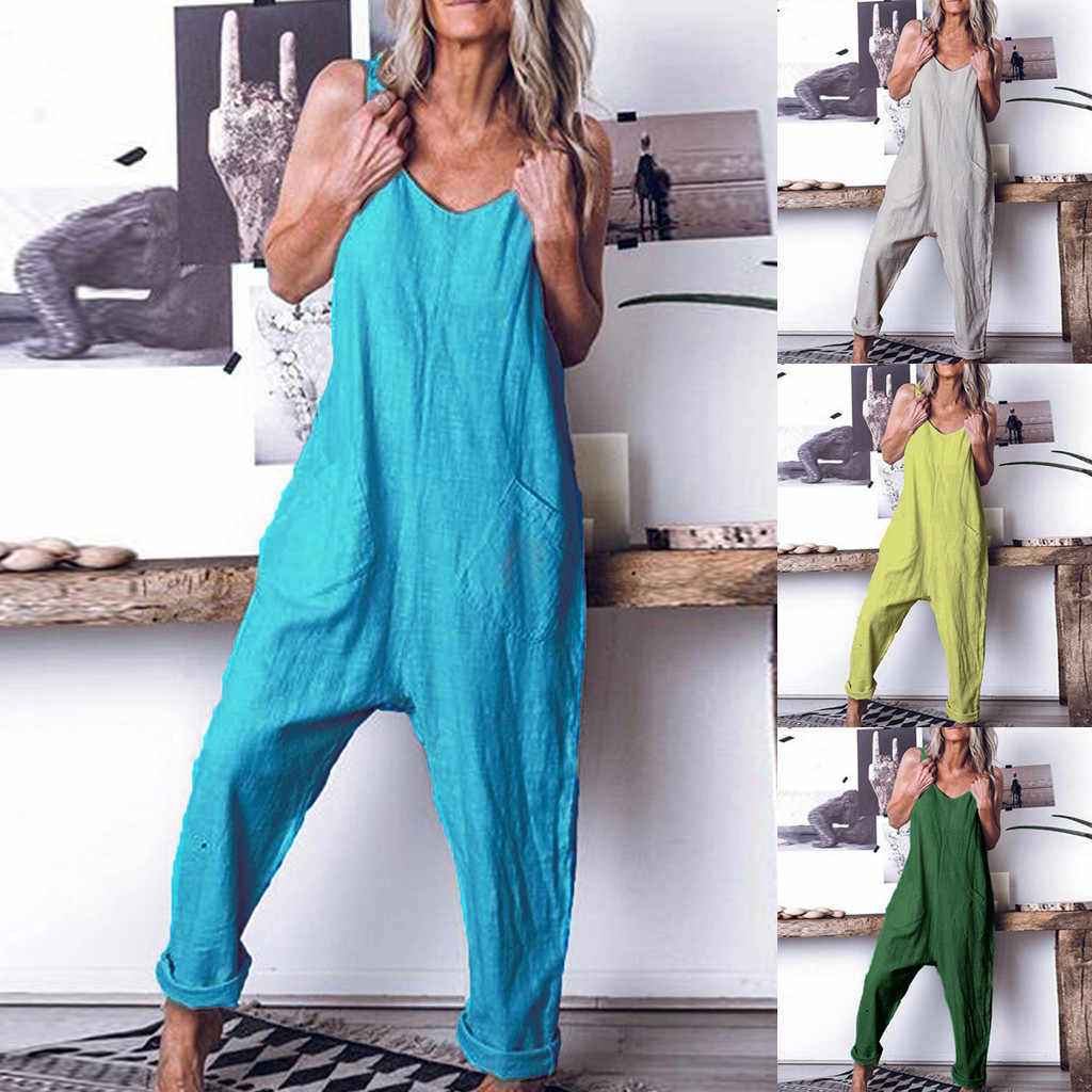loose Jumpsuit Women Casual Plus Size Linen Sleeveless Soild Overalls Sling Vest Brief daily Tooling Playsuit Body Mujer #50