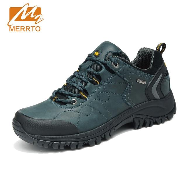 MERRTO 2018 Waterproof Hiking Shoes Men Sports Sneakers Men Women Genuine  Leather Hiking Boots Mountain Trekking