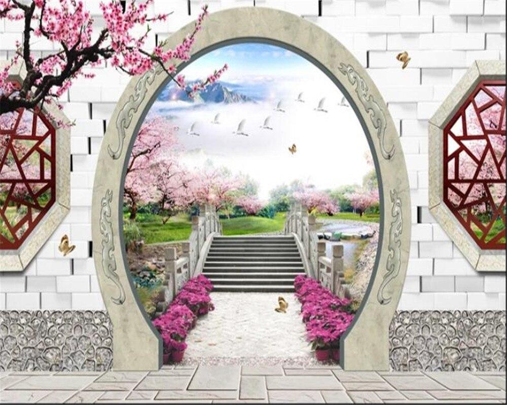 US $8 8 OFF Beibehang 3D Wallpaper Dekorasi Rumah Impian Peach Blossom Jembatan Gerbang Taman Dinding Latar Belakang TV Wallpaper Dinding 3d