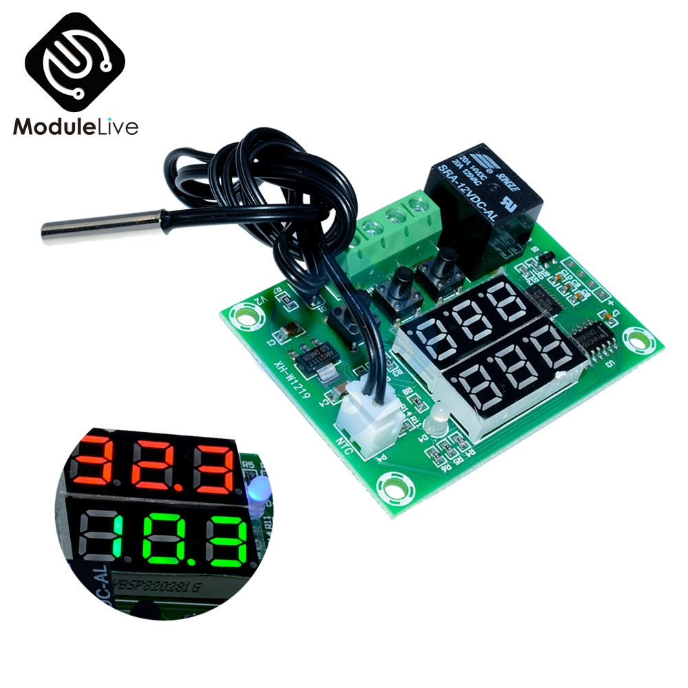 купить XH-W1219 DC 12V Dual LED Digital Display Thermostat Temperature Controller Regulator Switch Control Relay NTC Sensor Module онлайн
