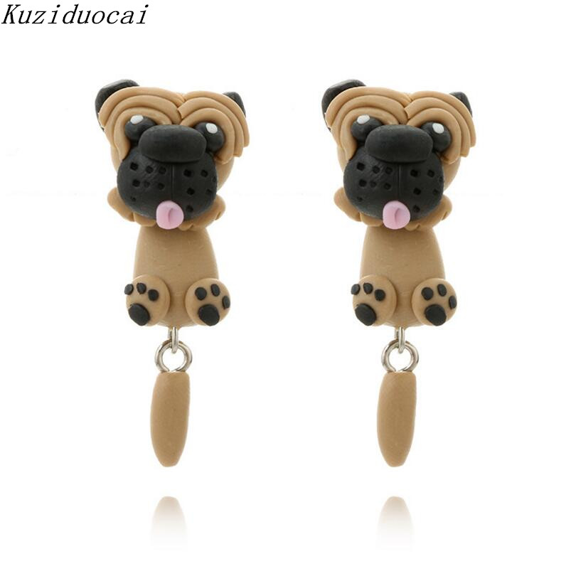Kuziduocai New ! Fashion Fine Jewelry Soft Pottery Dog Pussy Monkey Penguin Panda Stud Earrings For Women Child Girls Gift E-995