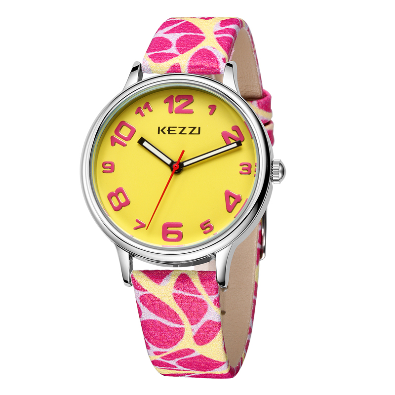 The New KEZZI Leather Strap Womens Watches Casual Fashion Analog Japan Movement Waterproof Quartz Watch Ladies Dress Watch Gift 2016 new arrival kezzi brand ladies watch business watches formal analog quartz movement steel strap wristwatches for women gift