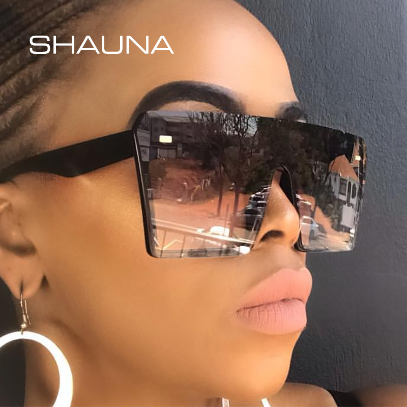 SHAUNA Oversize Square Sunglasses Women Fashion Flat Top Gradient Glasses Men