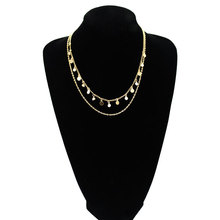 Fashion New Crystal Sequins Long Chain Necklace Women Gold Silver Double Layered Pendant Choker Necklaces