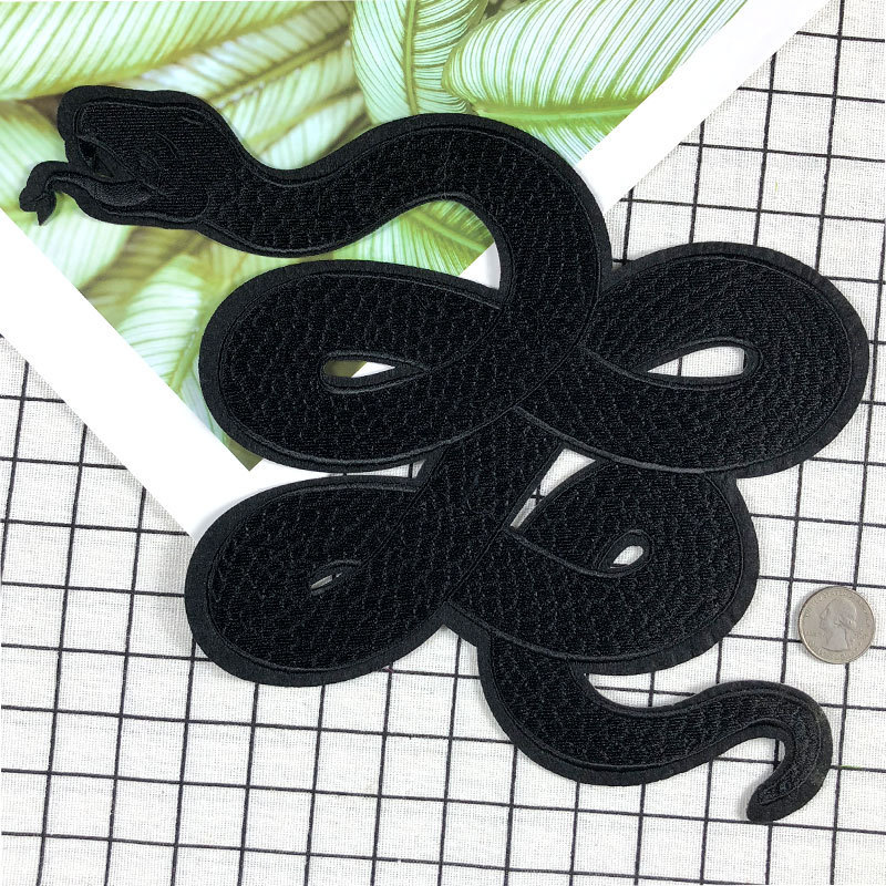 New 1 Pcs large Stickers For Clothes Patches Snake Embroidery Patch DIY Patches For Clothing Applique Embroidery Dark Patches
