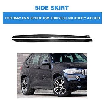 คาร์บอนไฟเบอร์ด้านข้างกระโปรงผ้ากันเปื้อน Chin Kit สำหรับ BMW X5 M Sport X5M xDrive35i 50i ยูทิลิตี้ 4 ประตู 2014-2018