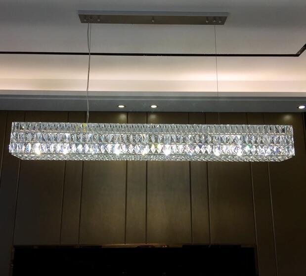 Moderne RH nouveau lustre en cristal rectangulaire Oliver design original art créatif décoration lumière restaurant luxe lustre