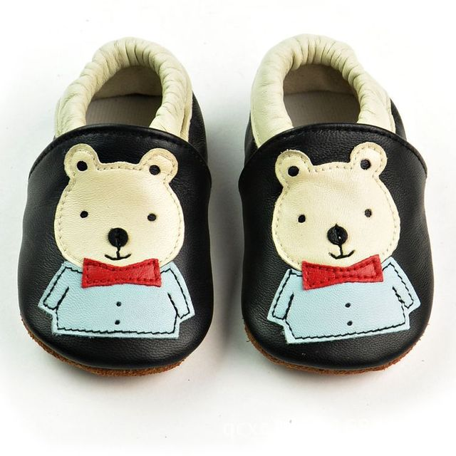 2017 Retail New Genuine Leather Baby Moccasins Shoes cute bear style Baby Shoes Newborn first walker Infant toddler Shoes