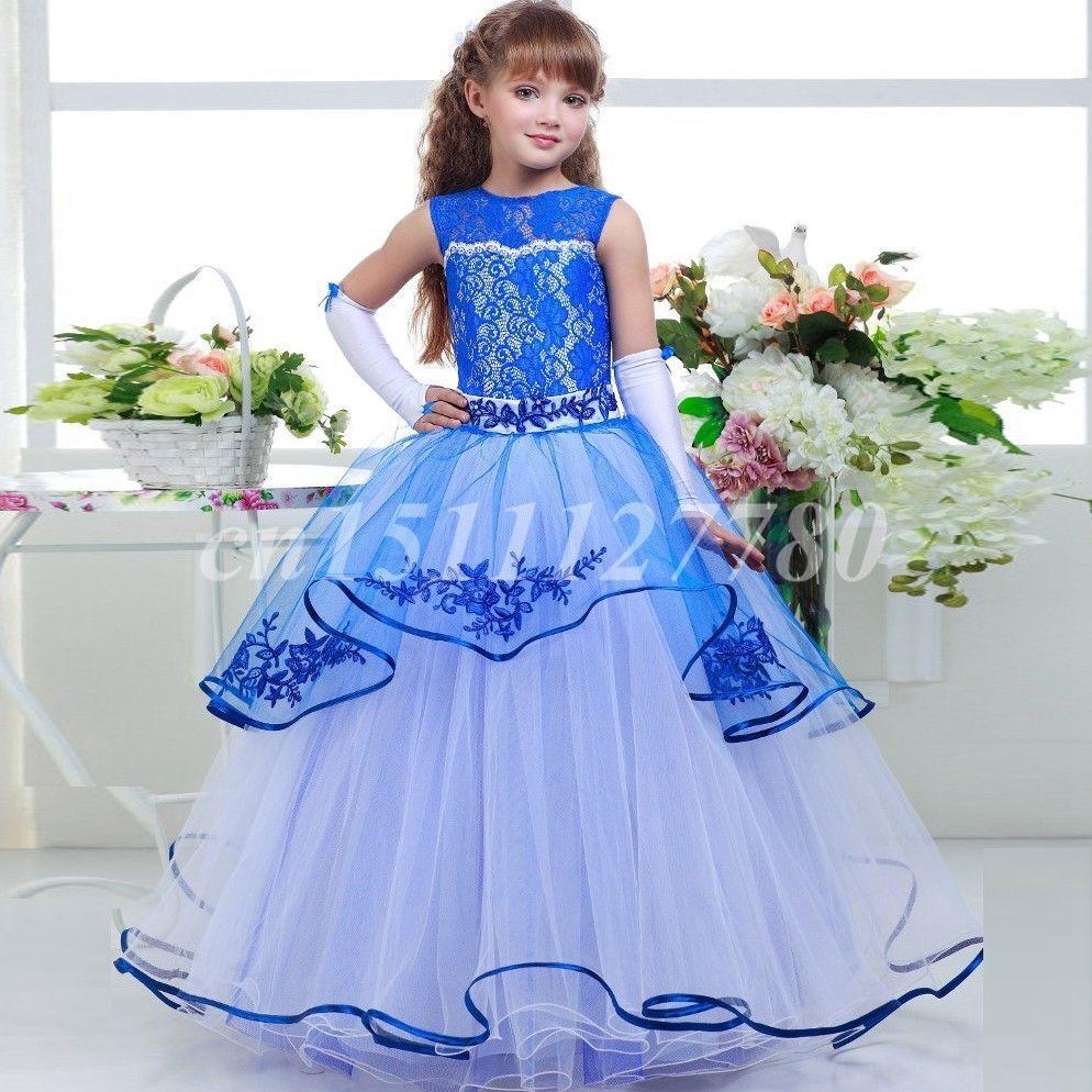 Royal Blue Lace Flower Girl Dresses for Wedding Floor Length Custom Size 2-14