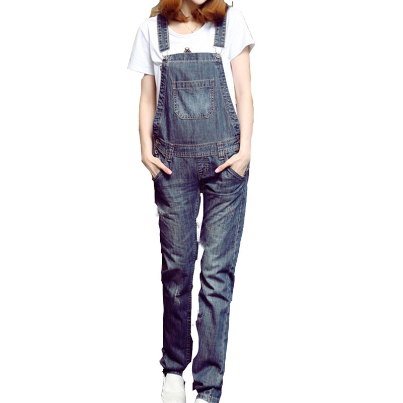 2017 autumn braces adjustable women pure cotton denim overalls fashion all match bleached loose ladies Jeans with pocket HM723