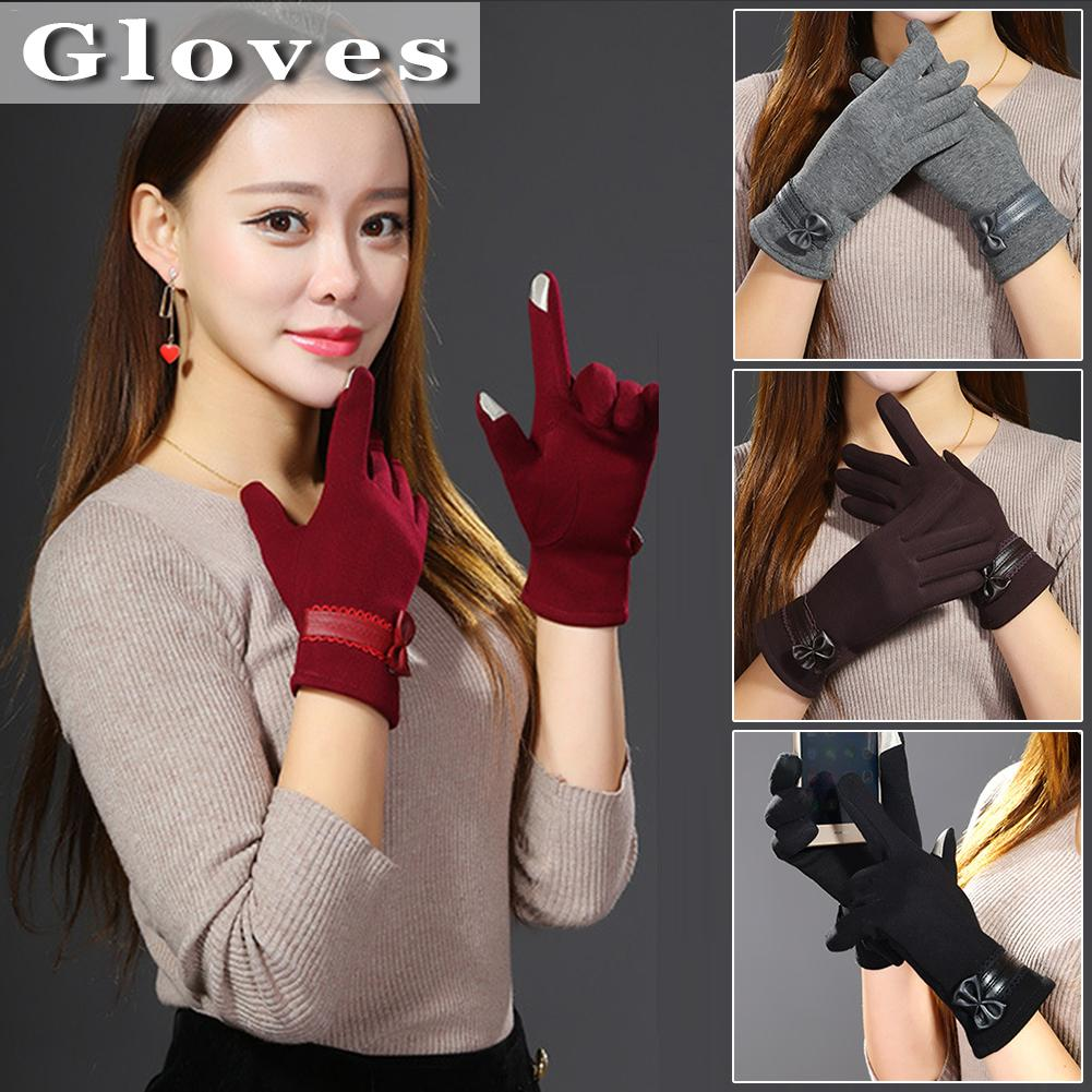 Winter Warm Gloves 2018 Women Luxury Bowknot Mittens Elegant Lady Winter Gloves Solid Winter Gloves Women Guantes Mujer