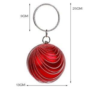 Image 2 - Sekusa円形タッセルラインストーンの女性のイブニングバッグとハンドルのダイヤモンド金属ハンドバッグ結婚式/パーティー/ディナーイブニングバッグ