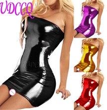 women hot sexy lingerie costumes Sexy glisten Metallic PVC FAUX LEATHER Underwear Babydoll Lingerie strapless BLACK