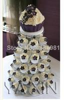 Exquisite clear acrylic cake tower/Authentic 6 layer cake round acrylic wedding party package mail wedding decoration