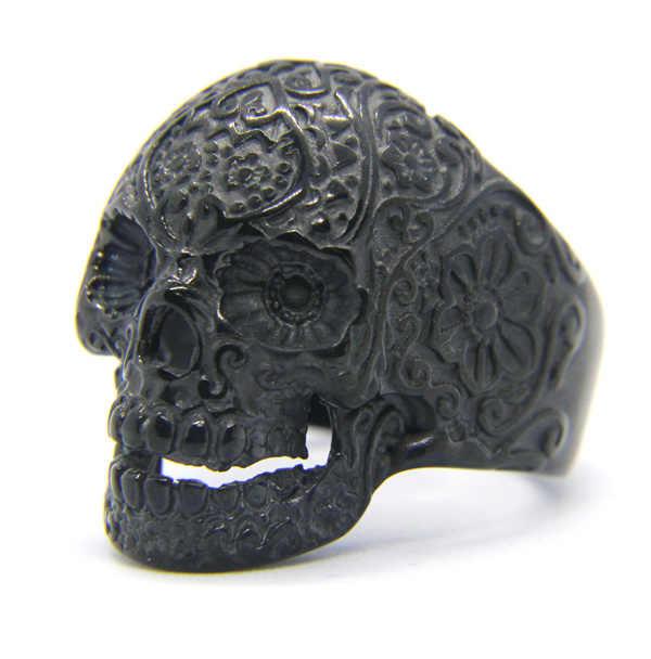 ขนาด7-14ออกแบบพิเศษเงินสีดำโกลเด้นกะโหลกแหวนสแตนเลส316Lผู้ชายผู้หญิงวงพรรคBiker s Kullแหวน