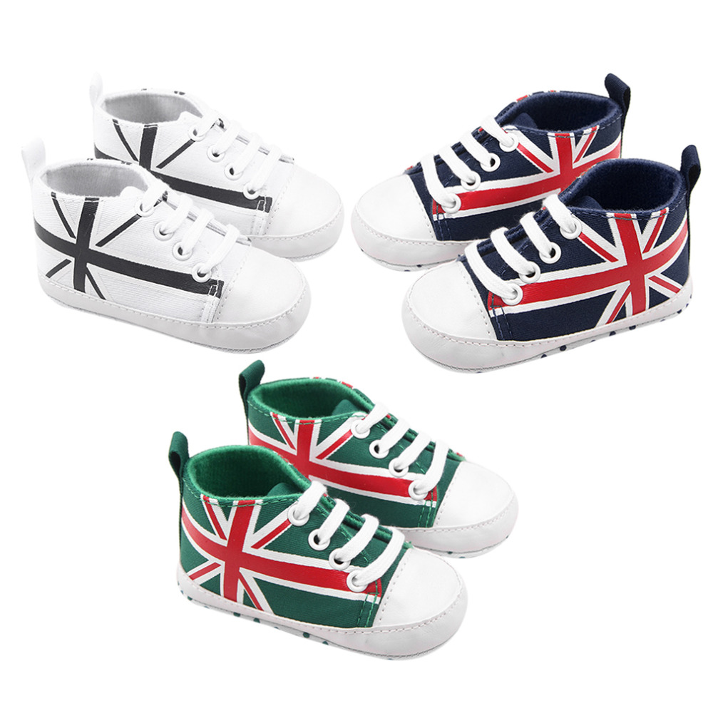 100% Brand New One Pair Baby Toddle New Shoes Flag Print Newborn Kids Soft Bottom Shoes