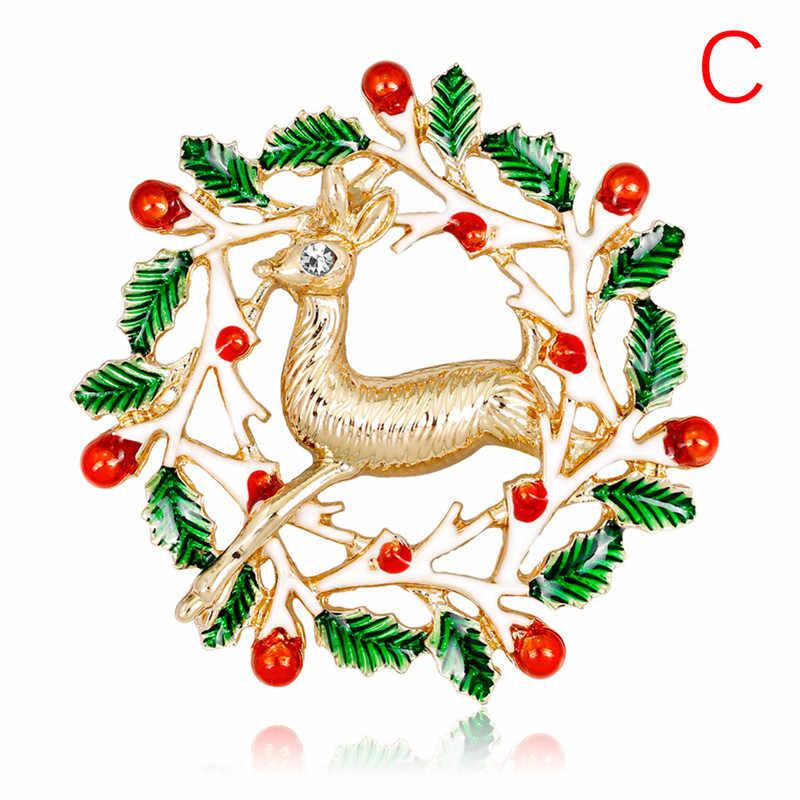 Noel emaye broş ağacı güzel kırmızı ayakkabı çizme çan geyik kardan adam kristal Pin kadınlar için parti takı noel hediyesi