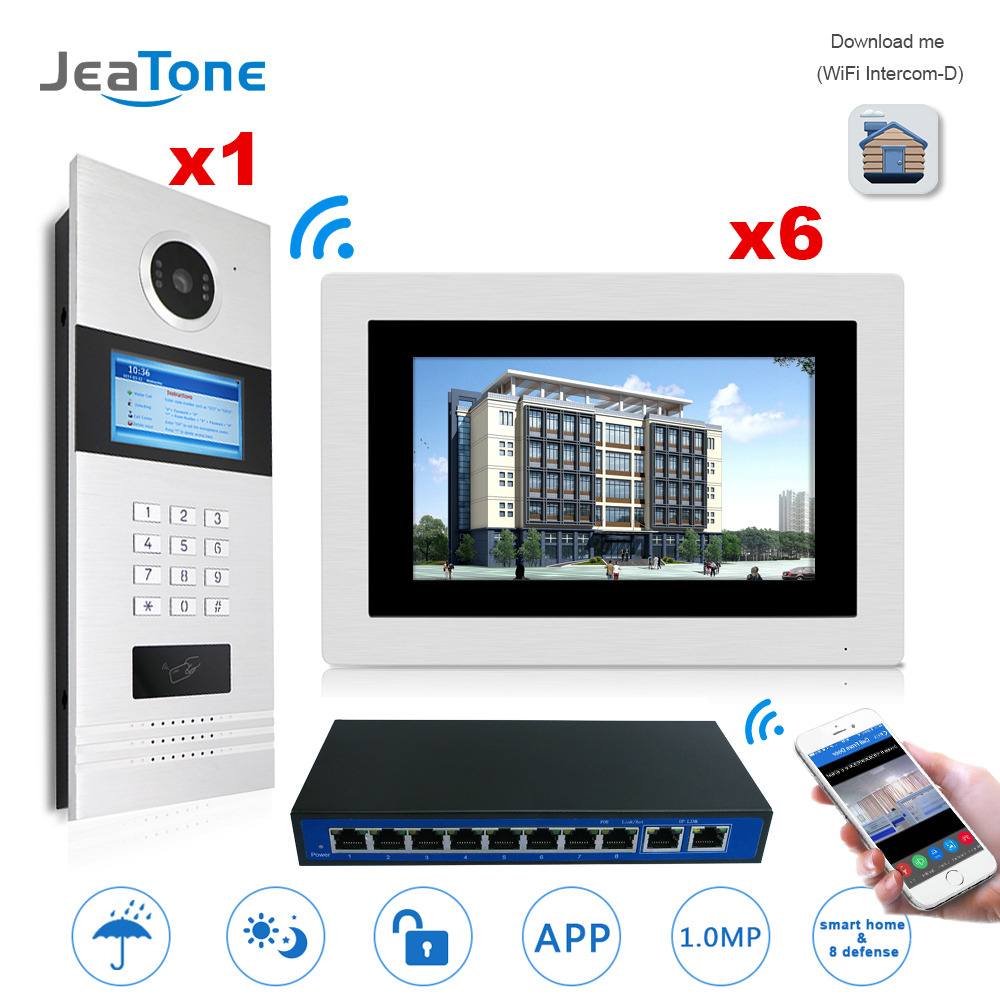 7 Touch Screen WIFI IP Video Door Phone Intercom +POE Switch 6 Floors Building Access Control System Support Password/IC Card