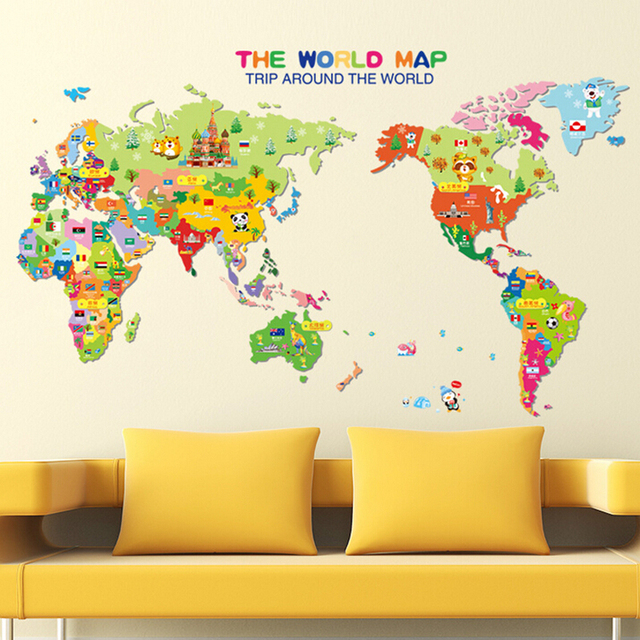 Stickers For Wall Decor aliexpress : buy kids bedroom 3d cartoon world map wall