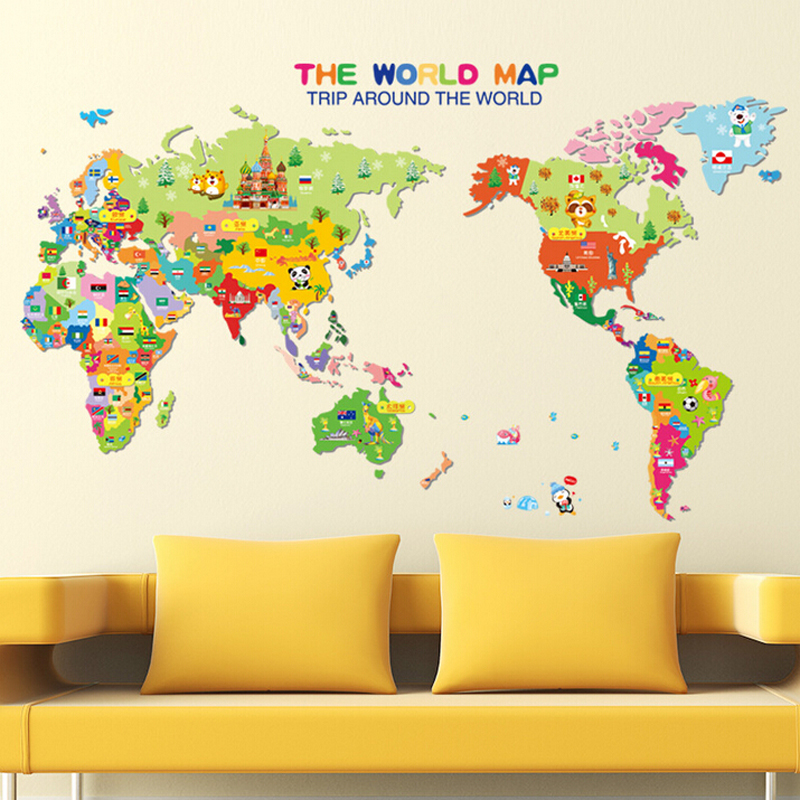 Kids Bedroom 3d Cartoon World Map Wall Sticker Removable Baby Room Art Decal Pictures