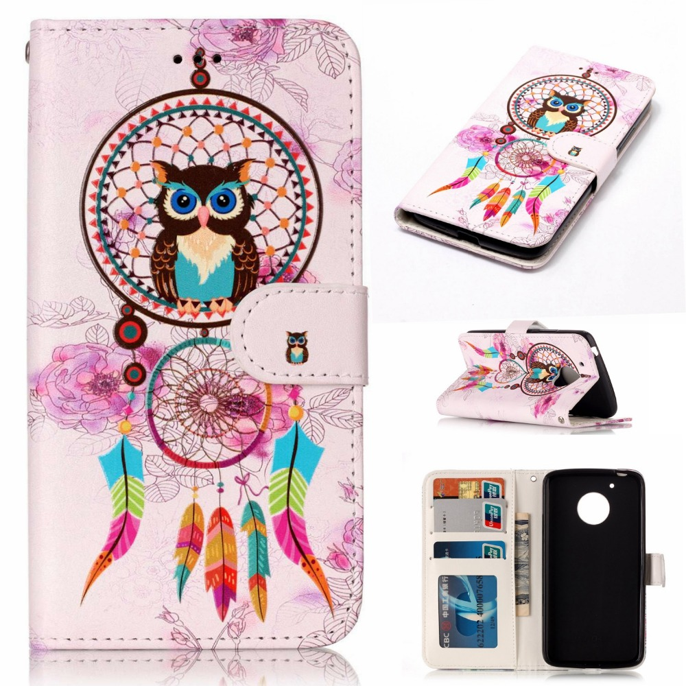 Go2linK Wind Bell Owl Wallet PU Leather Case For MOTO G5