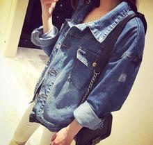 Kpop BTS Clothing Bangtan Boys Coat Clothes with Holes in Denim Jeans Coat Female Autumn Denim Jacket Women BTS K-pop Jungkook